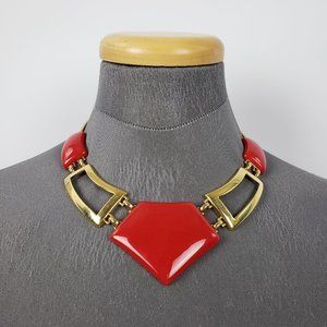 Vintage Monet Gold & Red Statement Necklace